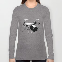 Drumkit Silhouette (frontview) Long Sleeve T-shirt