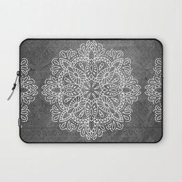 Mandala Vintage White on Ocean Fog Gray Laptop Sleeve