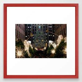 Rockefeller Center Angels & Tree Framed Art Print
