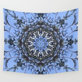 Iced Arborvitae Tracery Against The Sky Wall Tapestry