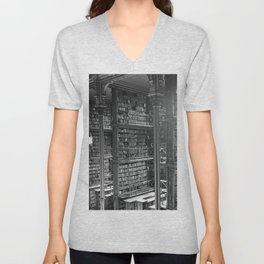 A Book Lover's Dream - Cast-iron Book Alcoves of Leather bound books Old Cincinnati Public Library Unisex V-Neck