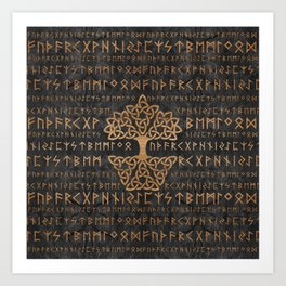 Elder Futhark Pattern and Tree of life Art Print