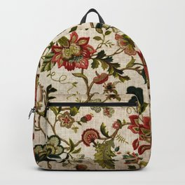Red Green Jacobean Floral Embroidery Pattern Backpack
