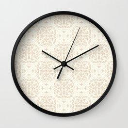 Beige Damask Pattern Wall Clock