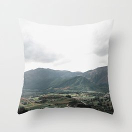 Driving down the hill from Coronet Peak, NZ Throw Pillow