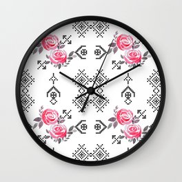 Ethnic red black pattern Wall Clock