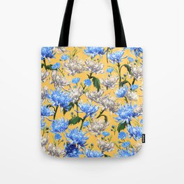 Mums Pattern  |  Yellow-Blue-Cream-White Tote Bag
