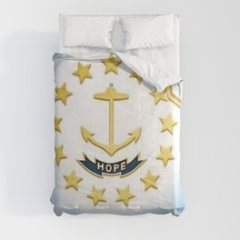 Rhode Island Map and State Seal with Sunburst - Ocean State portrait Comforters
