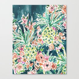 PINEAPPLE PARTY Lush Tropical Boho Floral Canvas Print