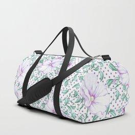 Modern botanical hand painted lilac green floral polka dots Duffle Bag