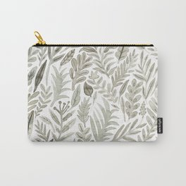 Grey Botanical Carry-All Pouch