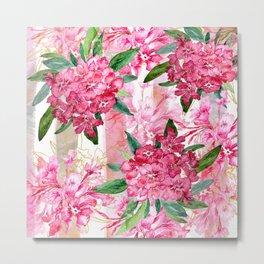 Oleander Watercolor Pink Metal Print