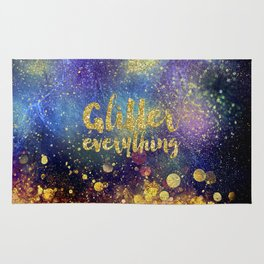 Glitter everything- Girly Gold Glitter effect Space Typography Rug