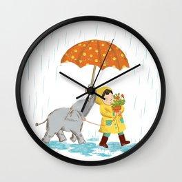 boy & elephant Wall Clock