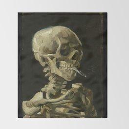 Vincent van Gogh - Skull of a Skeleton with Burning Cigarette Throw Blanket