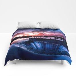 Reservoir at sunset Comforters