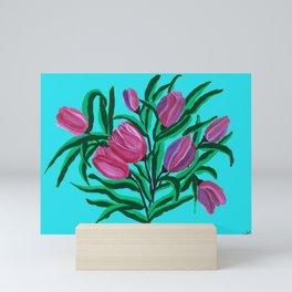 Summery blue tulips Mini Art Print