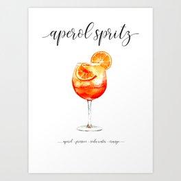 Cocktail Recipes. Aperol Spritz. Art Print