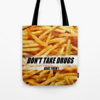 french fries Tote Bags featuring French Fries by Ispas Sorin