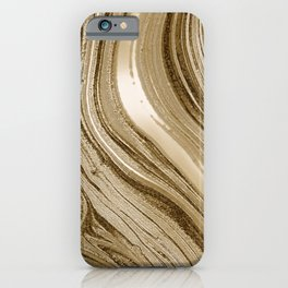 Gold Liquid Glitter Marble iPhone Case