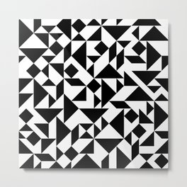 Tangram Composition in Black and White Metal Print