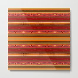 Assorted Zigzags And Lines Pattern Green Pink Orange Metal Print