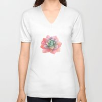 succulents V-neck T-shirts featuring succulents by NuroNuro
