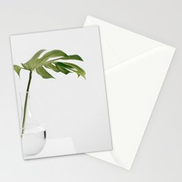 Single Monstera Leaf In Clear Glass Zen Minimalist House Plant Photo Stationery Cards