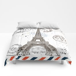 Art hand drawn design with Eifel tower. Old postcard style Comforters