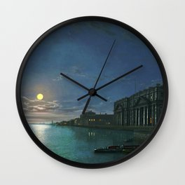 Classical Masterpiece View of the Thames River by Abraham Pether Wall Clock