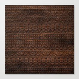 Aztec Tribal Andes Carved brown wood grain pattern Canvas Print