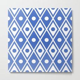 Harlequin Pattern Blue Metal Print