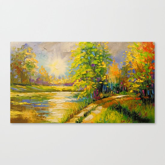 At sunset by the river Canvas Print