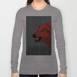 Red wolf with blue lines Long Sleeve T-shirt