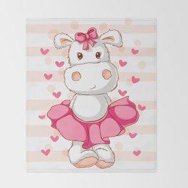 happy hippo Throw Blanket