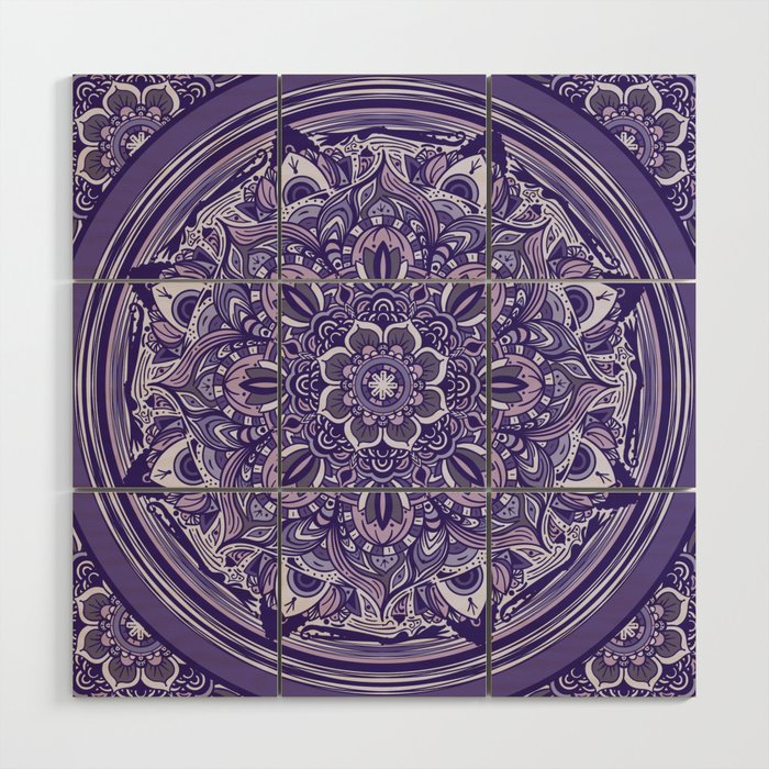 Great Purple Mandala Wood Wall Art