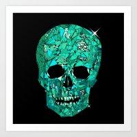 Turquoise Geometric Skull  Art Print