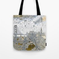 san francisco map Tote Bags featuring San Francisco skyline old map by Paula Belle Flores