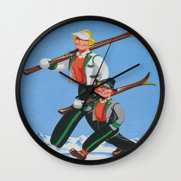 Mom and Son Skiers Vintage Art Wall Clock