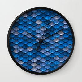 Mermaid Blues Scales Wall Clock