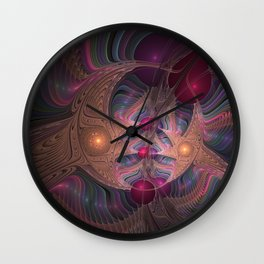 Colorful Abstract Fractal Wall Clock