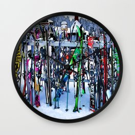Ski Party - Skis and Poles Wall Clock