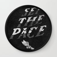 lee pace Wall Clocks featuring Set The Pace by Ricca Design Co.