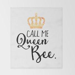 Queen Bee Funny Quote Throw Blanket