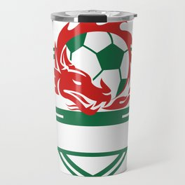 Red Dragon Soccer Ball Crest Travel Mug