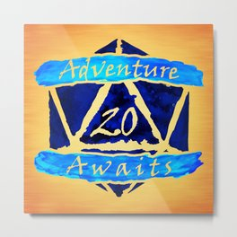 D20 Adventure Awaits Watercolor Cleric's Trail Metal Print