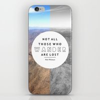 not all who wander iPhone & iPod Skins featuring Wander by Cactus And Fog