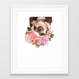 Baby Sloth with Flowers Crown in White Framed Art Print