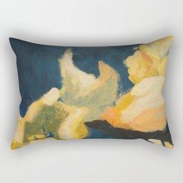Floral blue and yellow detail Rectangular Pillow