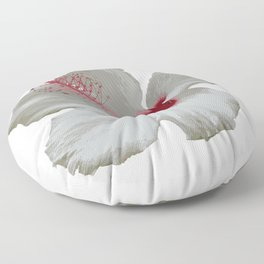Pure White Hibiscus Tropical Flower Floor Pillow